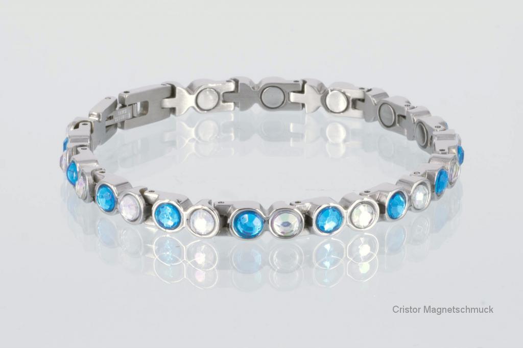 8509SZ - Magnetarmband mit blauen und weißen Einlagen