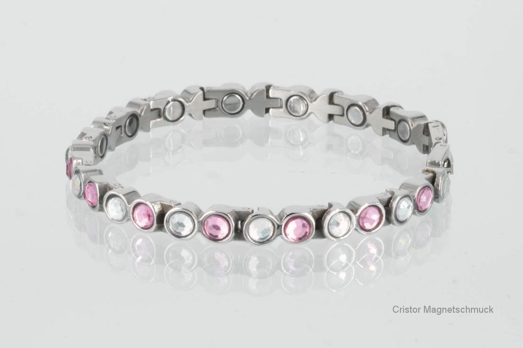 8508SZ - Magnetarmband mit rosefarbenen und weißen Einlagen