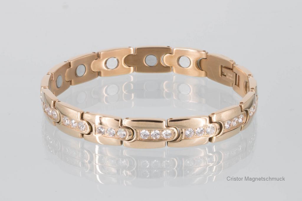 8150RGZ - Magnetarmband rosegoldfarben mit Zirkoniasteinen