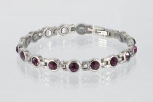 8161SZ - Magnetarmband silberfarben mit amethystfarbenen Zirkoniasteinen