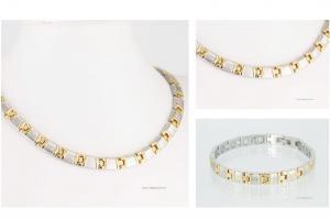 Halskette und Armband im Set bicolor - h9021bset