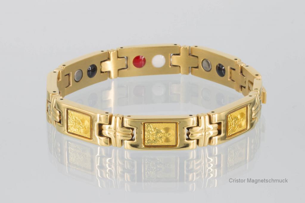 E8302G2 - 4-Elemente Armband goldfarben mit buddhistischen Motiven