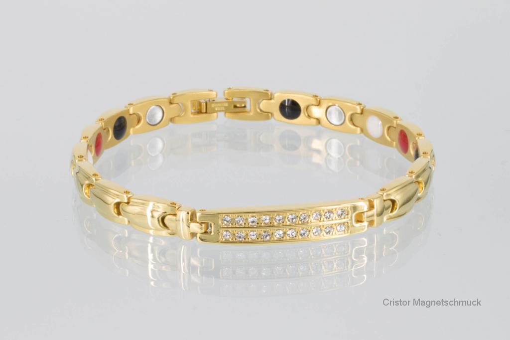 E8178GZ - 4-Elemente Armband goldfarben mit weißen Zirkonia