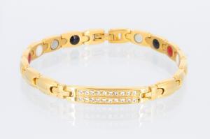 4-Elemente Armband goldfarben mit weißen Zirkonia - e8178gz