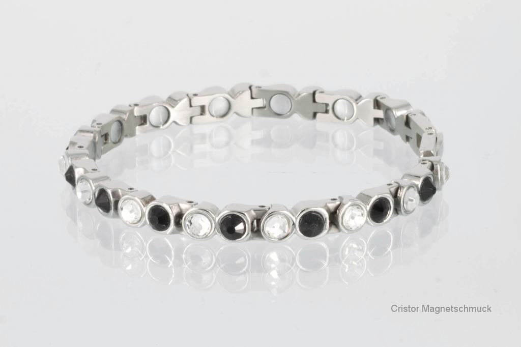 8527SZb - Magnetarmband silberfarben mit schwarzen und weißen Glassteinen