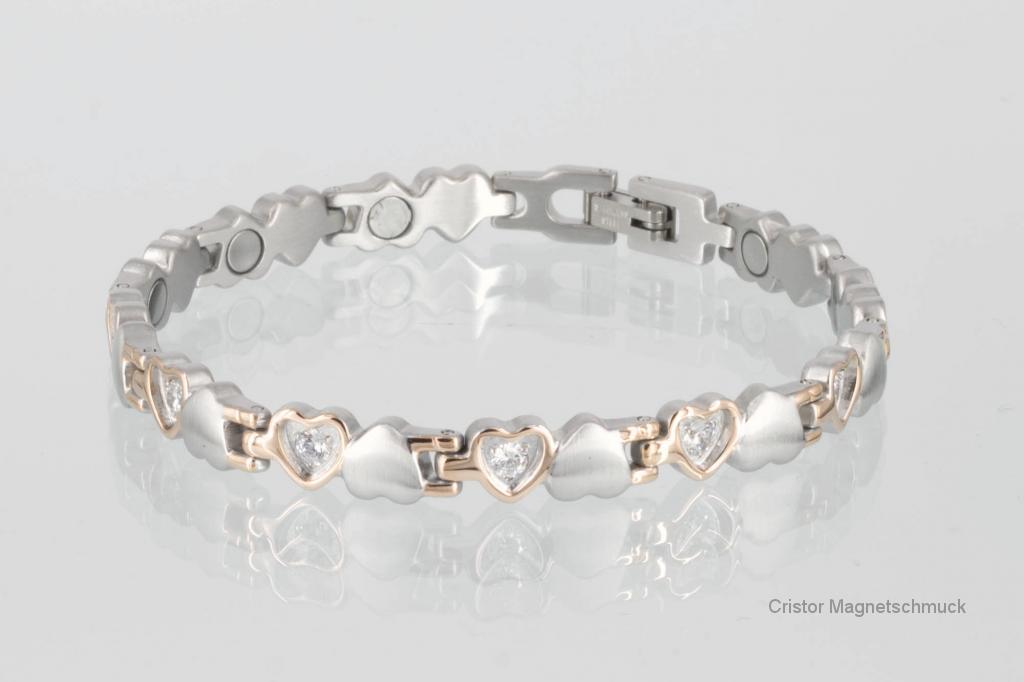 8233RGZ - Magnetarmband silber rosegold mit Zirkonia