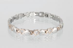 Magnetarmband silber rosegold mit Zirkonia - 8233rgz