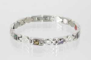 E8846SZ - 4-Elemente Armband silberfarben mit Zirkonia und Pauamuschel