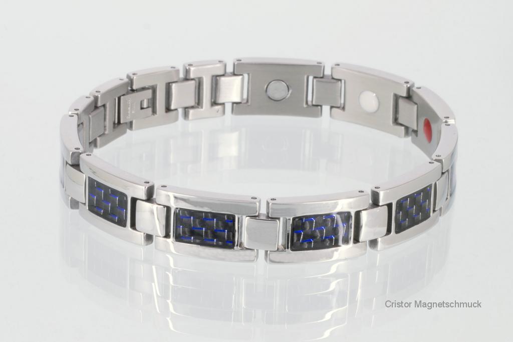 E8201BS - 4-Elemente Armband silberfarben mit blauer Carbonfasereinlage