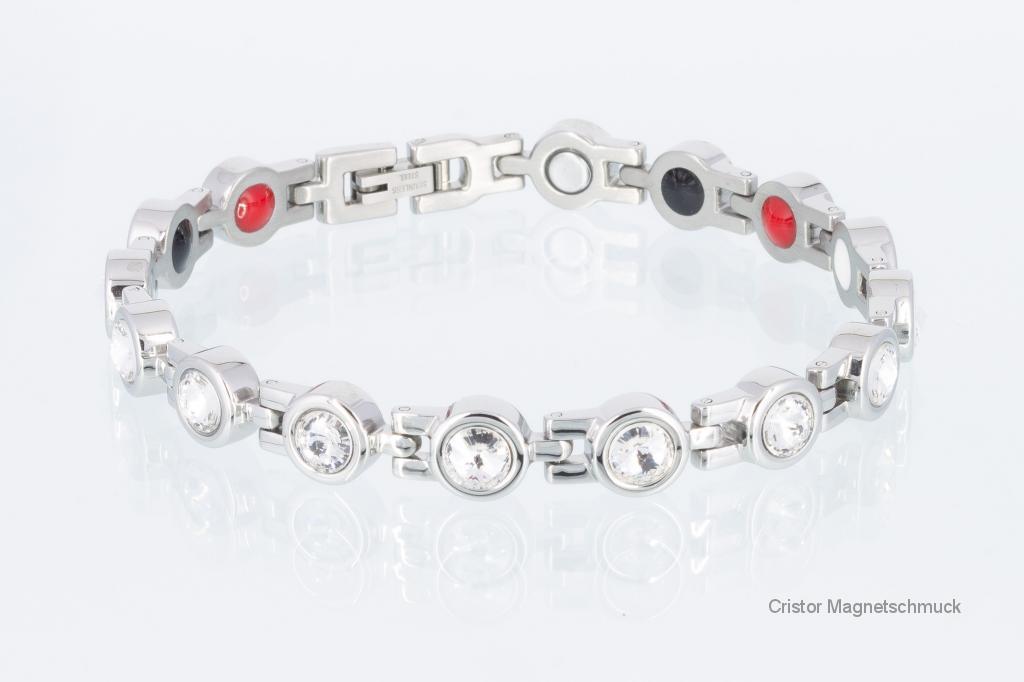 E8530SZ - 4-Elemente Armband silberfarben mit Zirkoniasteinen