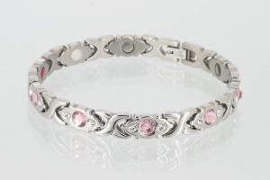 E8042SZb - 4-Elemente Armband silberfarben mit weißen und rosefarbenen Zirkonia