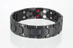 E8619BL - Doppelreihiges Energiemagnetarmband schwarz