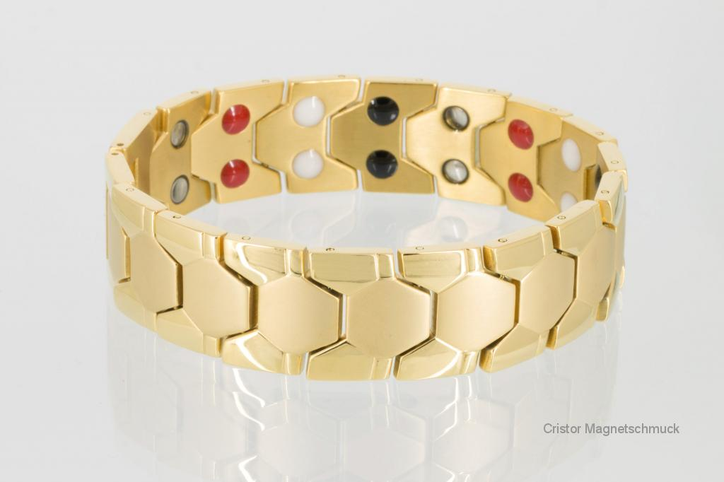 E8619G - Doppelreihiges Energiemagnetarmband goldfarben