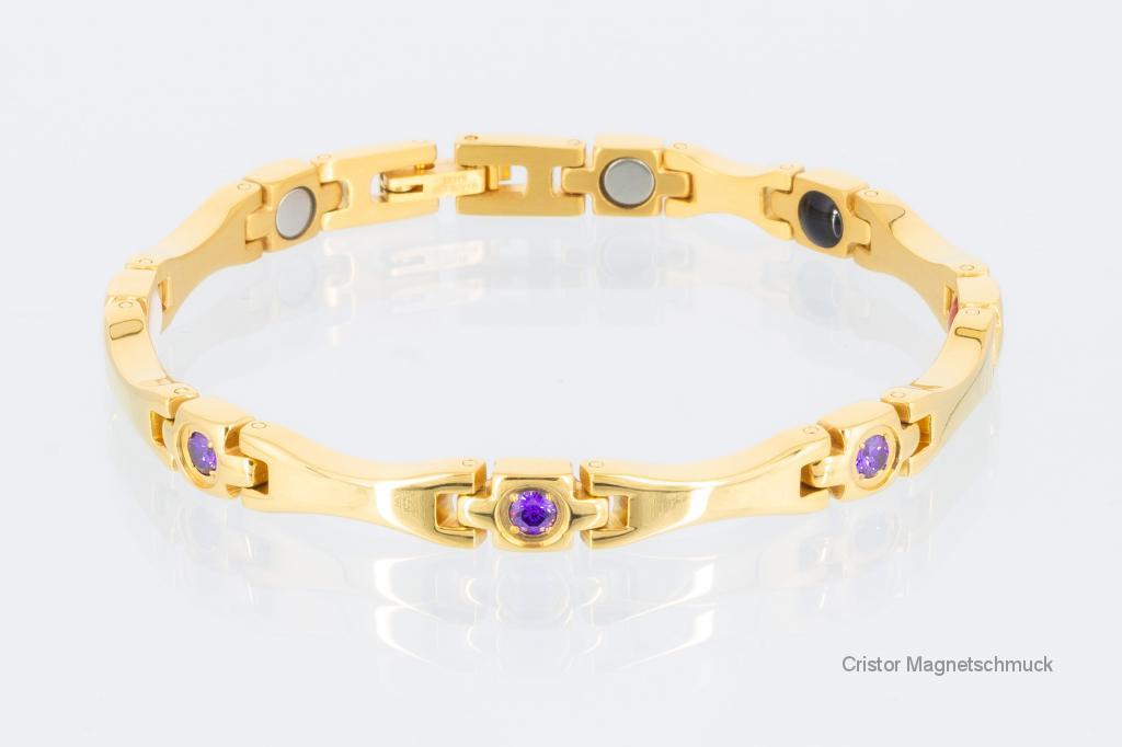 E8563G2Z - 4-Elemente Armband goldfarben mit lilafarbenen Zirkoniasteinen