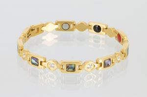 4-Elemente Armband goldfarben mit Zirkonia und Pauamuschel - e8846gz