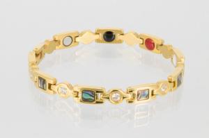 E8846GZ - 4-Elemente Armband goldfarben mit Zirkonia und Pauamuschel