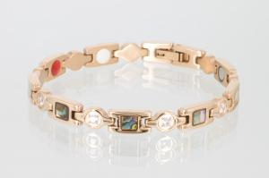E8846RGZ - 4-Elemente Armband rosegoldfarben mit Zirkonia und Pauamuschel