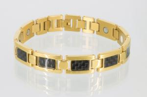 E8201BLG2 - 4-Elemente Armband goldfarben mit schwarzer Carbonfasereinlage