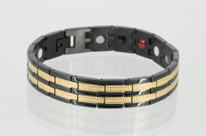 E8327BLG - 4-Elemente Armband gold schwarz