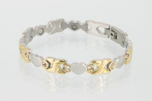 Magnetarmband bicolor mit Zirkoniasteinen - 8219bz