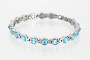 8553SZ - Magnetarmband silberfarben mit blauen Glassteinen