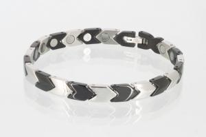 8030BLS2 - Magnetarmband in silber schwarz