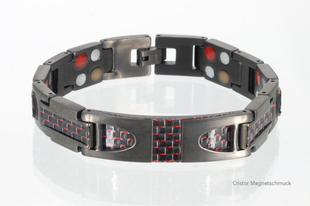 TE8257BLe - Titanenergiearmband schwarz mit roter Carbonfaser