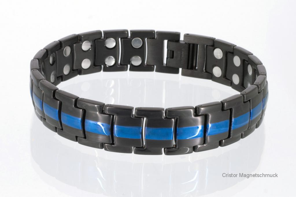 8901BLblau - Doppelreihiges Magnetarmband schwarz und blaumetallic