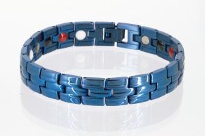 E8035blau - 4-Elemente Armband blaumetallic