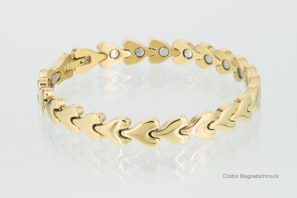 8580GP - Magnetarmbänder als Partnerset goldfarben