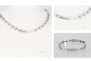 Halskette und Energiearmband im Set silberfarben mit Zirkonia - h9005szset2