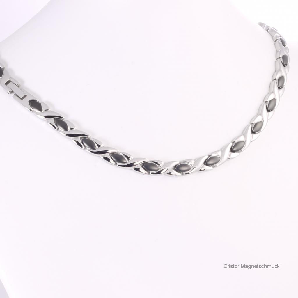 H9024BLSSet2 - Halskette und Energiearmband im Set schwarz-silber
