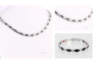 Halskette und Energiearmband im Set schwarz-silber - h9024blsset2