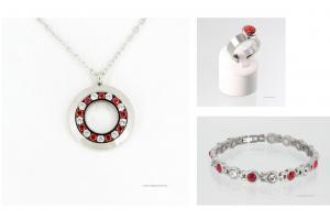 Magnetschmuckset silberfarben mit roten und weißen Zirkonia - ae1889szset2
