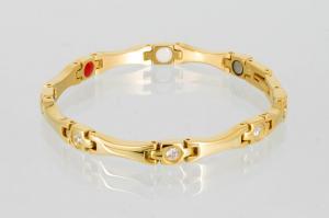 E8565G2Z - 4-Elemente Armband goldfarben mit weißen Zirkoniasteinen