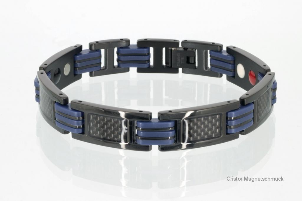 E8196BLblau - 4-Elemente Armband mit schwarzer Carbonfasereinlage und schwarzblauen Zwischengliedern
