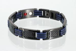 4-Elemente Armband mit schwarzer Carbonfasereinlage und schwarzblauen Zwischengliedern - e8196blblau