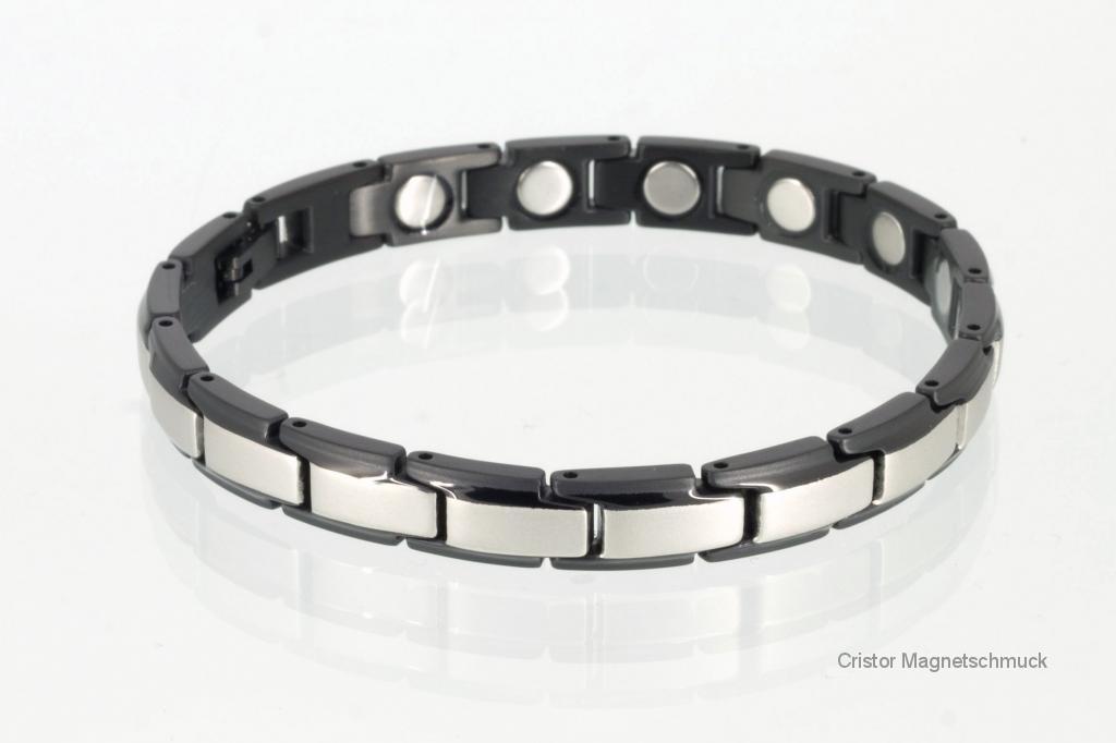 8368SBL4 - Magnetarmband silber schwarz mit extra-starken Magneten