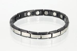 Magnetarmband silber schwarz mit extra-starken Magneten - 8368sbl4