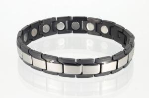 8262SBL4 - Magnetarmband schwarz silber mit extra-starken Magneten