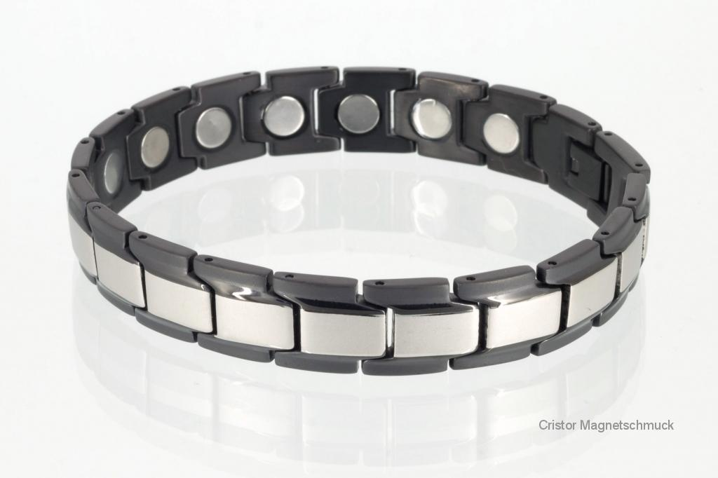 8262SBL4P - Magnetarmbänder als Partnerset silber schwarz mit extra-starken Magneten