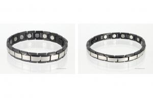 Magnetarmbänder als Partnerset silber schwarz mit extra-starken Magneten - 8262sbl4p