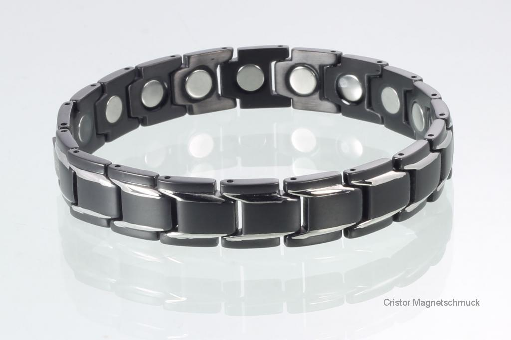 8262BLS4P - Magnetarmbänder als Partnerset schwarz silber mit extra-starken Magneten