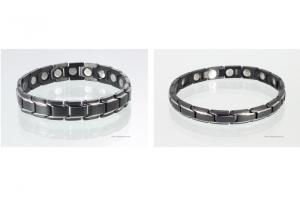 Magnetarmbänder als Partnerset schwarz silber mit extra-starken Magneten - 8262bls4p