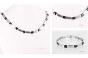 Halskette und Armband im Set schwarz-silber - h9058blset