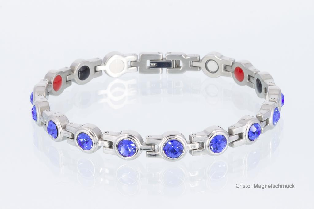 E8199SZ - 4-Elemente Armband silberfarben mit blauen Zirkonia