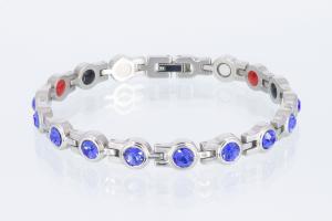 4-Elemente Armband silberfarben mit blauen Zirkonia - e8199sz