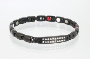 E8178BLZ - 4-Elemente Armband schwarz mit weißen Zirkonia