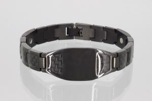 8314BL - Magnetarmband schwarz mit schwarzen Carbonfasereinlagen