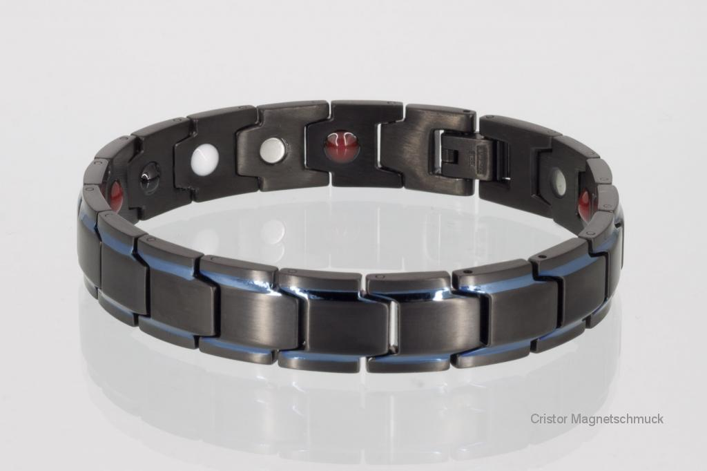 E8262BLblau - 4-Elemente Armband schwarz mit blauen Streifen